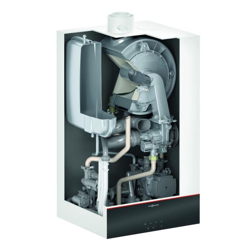 Poza Centrala termica pe gaz in condensatie VIESSMANN Vitodens 100-W 32 Kw, kit evacuare inclus cu boiler Vitocell, monovalent de 300 litri
