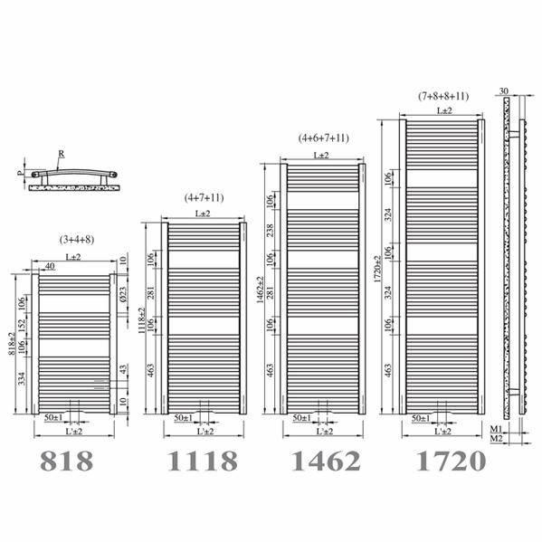 Calorifer de baie curbat Irsap VENUS cromat 740x1118