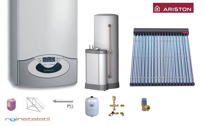 Pachet ARISTON Genus Premium System 30 + 1 panou solar tuburi vidate + boiler 300 l