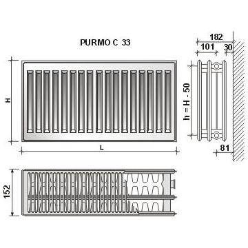 Calorifer din otel PURMO C 33/600X700