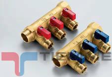 Colector NINO 3/4 cu robineti 1/2 maneta rosie - 3 CAI