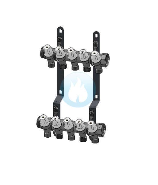 Set colector MAXIMA 1 cu robineti 1/2 interaxa 36 mm - 8 CAI