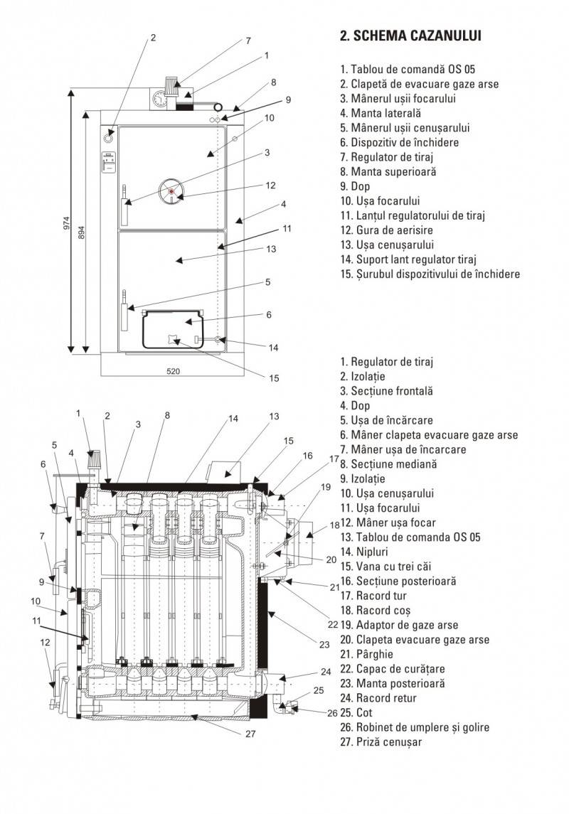 Cazan pe lemne din fonta VIADRUS U22-D7 35 kw