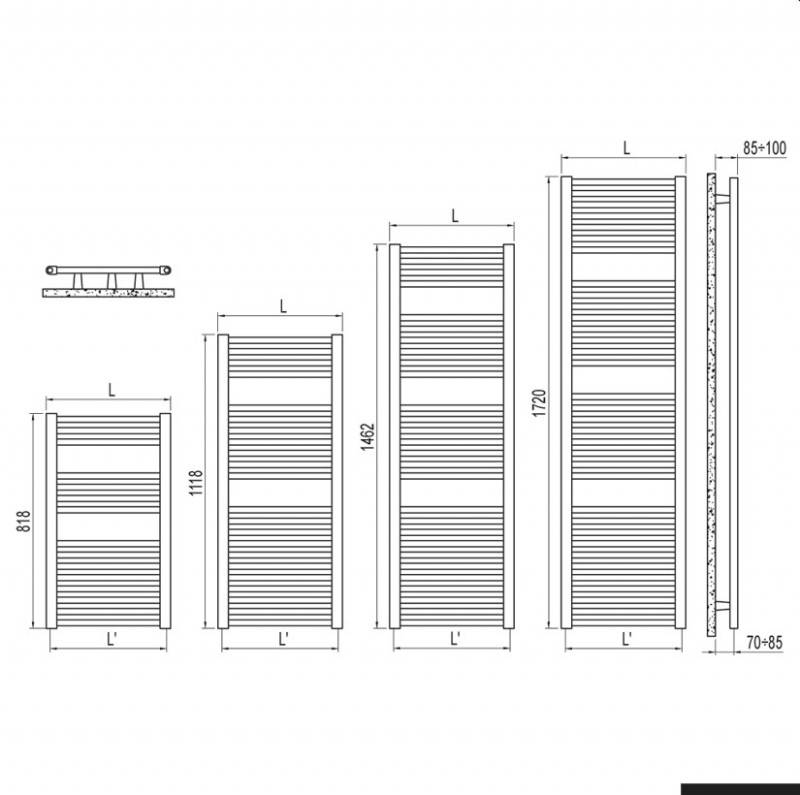 Calorifer de baie Irsap ARES 750x1118