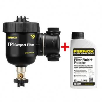 Pachet Filtru anti-magnetita FERNOX TF1 COMPACT, Robineti cu olandez FI 1