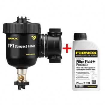 Poza Pachet Filtru anti-magnetita FERNOX TF1 COMPACT + fluid protector, Robinet cu olandez 1 FI x 3/4 FE