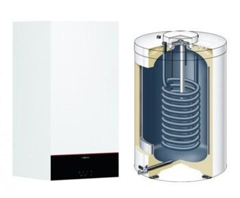Centrala termica pe gaz in condensatie VIESSMANN Vitodens 100-W 25 Kw, kit evacuare inclus cu boiler monovalent de 120 litri