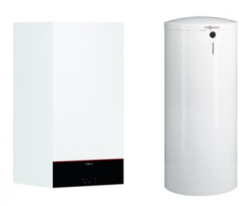 Centrala termica pe gaz in condensatie VIESSMANN Vitodens 100-W 25 Kw, kit evacuare inclus cu boiler Vitocell, monovalent de 300 litri
