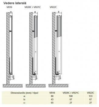 Poza Calorifer din otel vertical PURMO VR21/1800X300