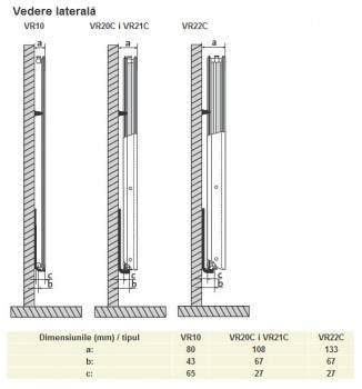 Poza Calorifer din otel vertical PURMO VR21/1950X600