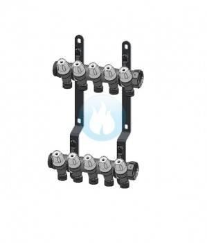 Poza Set colector MAXIMA 1 cu robineti 1/2 interaxa 36 mm - 7 CAI