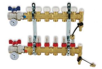 Colector de distributie TIEMME 1 cu iesiri de 3/4x18 3 cai cu debitmetre